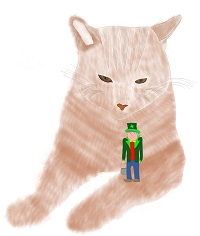 Angry Cat with Leprechaun