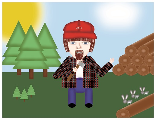 Larry the Lumberjack Scene
