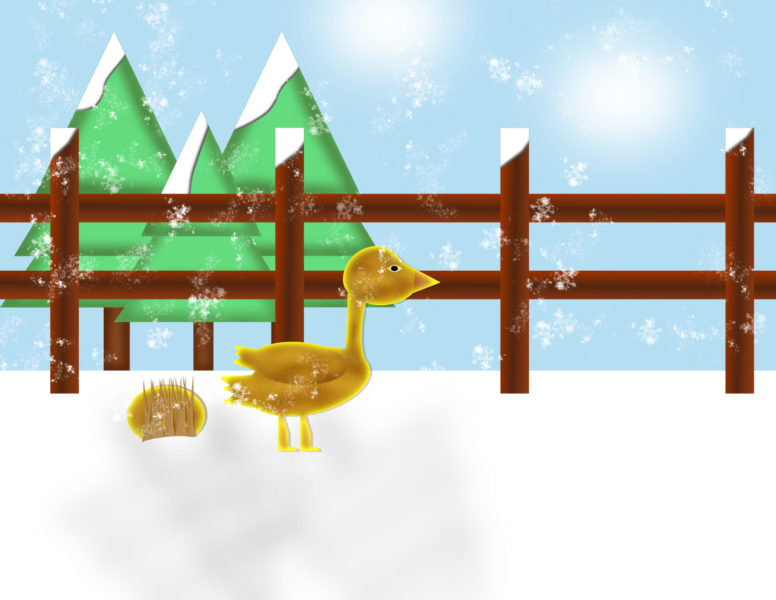 Golden Christmas Goose Scene