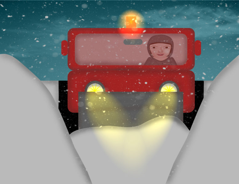 Sammy the Snowplough Driver with lights
